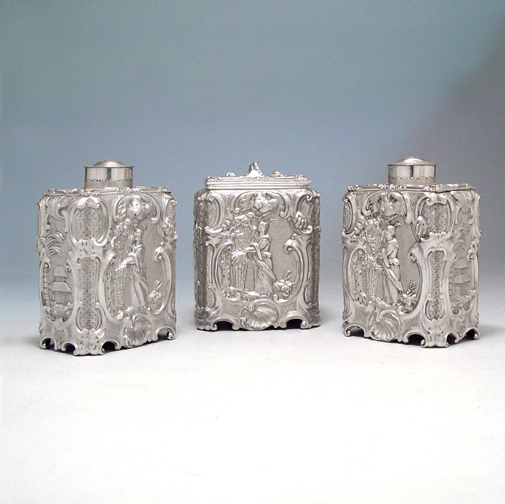 SOLD - A Set of George III Antique English Silver Tea Caddies & Bowl