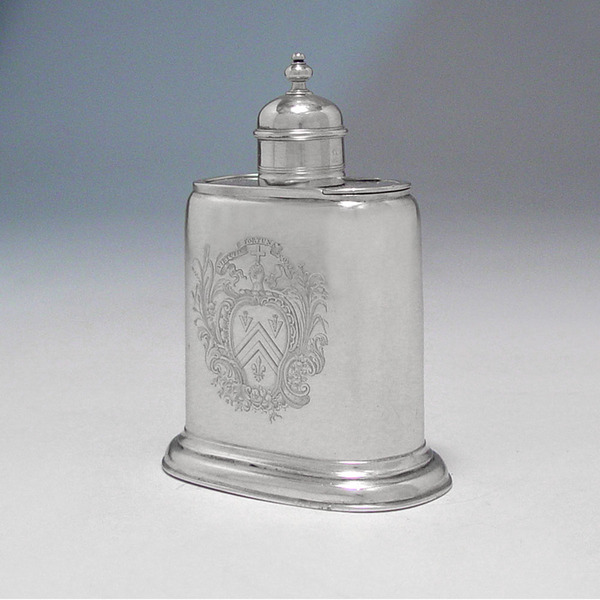 SOLD - A George II Antique English Silver Tea Caddy