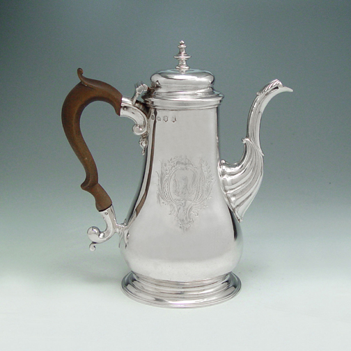 SOLD - A George II Antique English Silver Coffee Pot