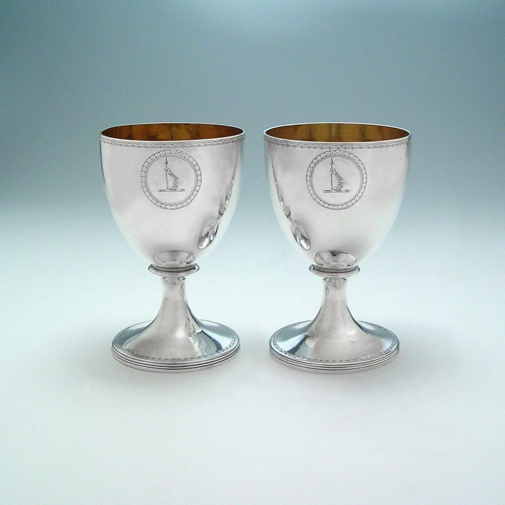 SOLD - A Pair of George III Antique English Silver Goblets