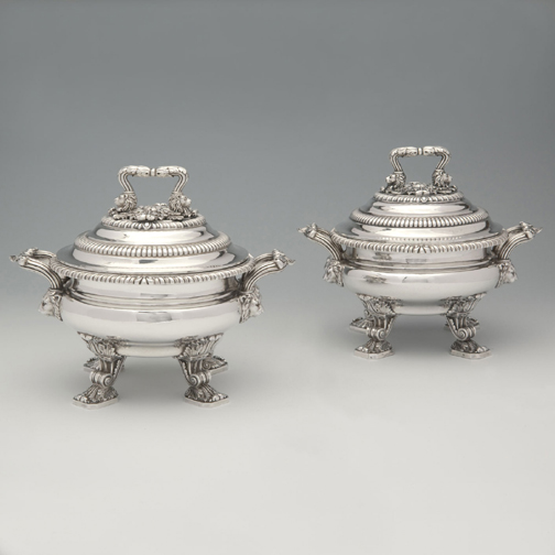 SOLD - A Pair of George III English Silver Sauce Tureens by Paul Storr