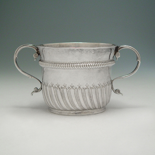 SOLD - A William III Antique English Silver Porringer