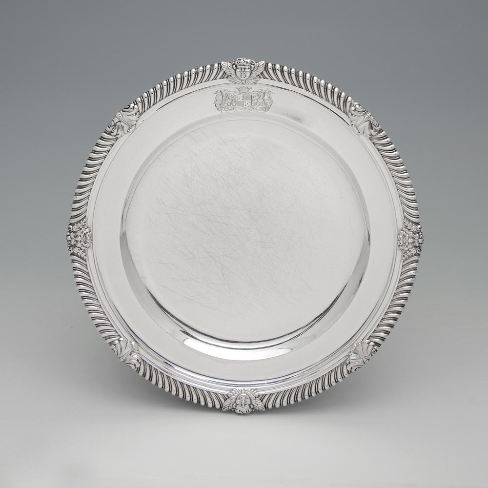 & A Set of 12 George III Antique English Silver Dinner and Soup Plates