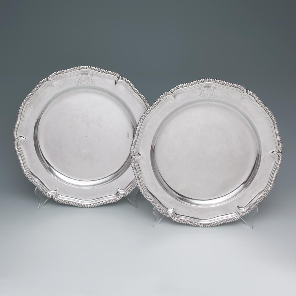 A Pair of George II Antique English Silver Second Course Dishes