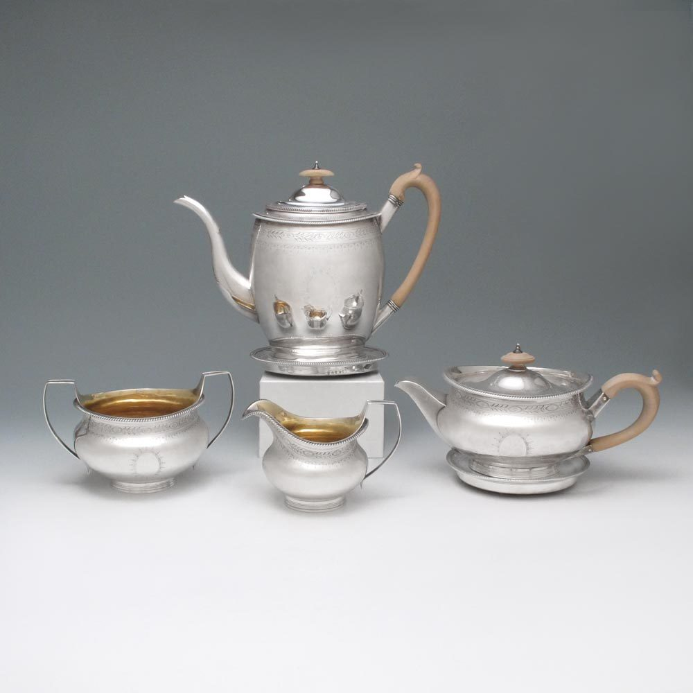 SOLD - A George III Antique English Silver Tea & Coffee Set