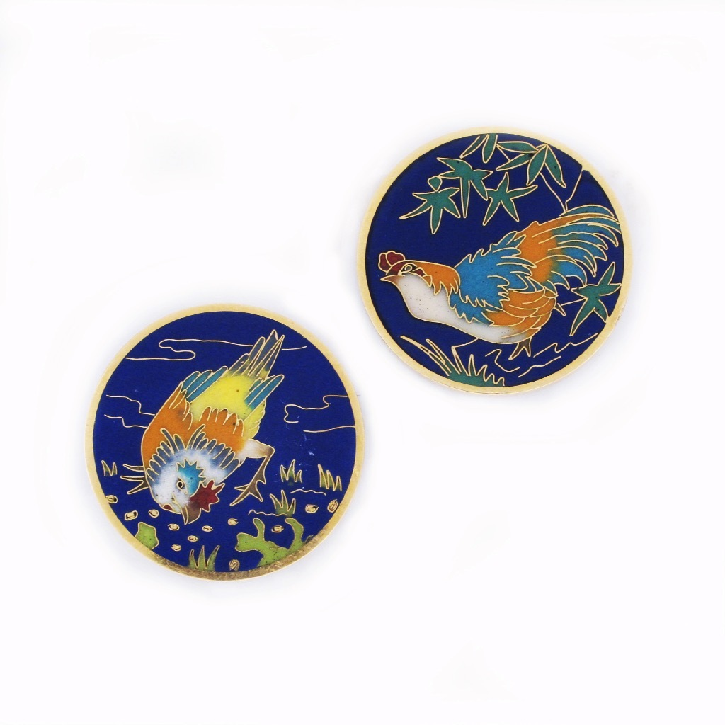 A Pair of Falize Enamel Cuff Buttons