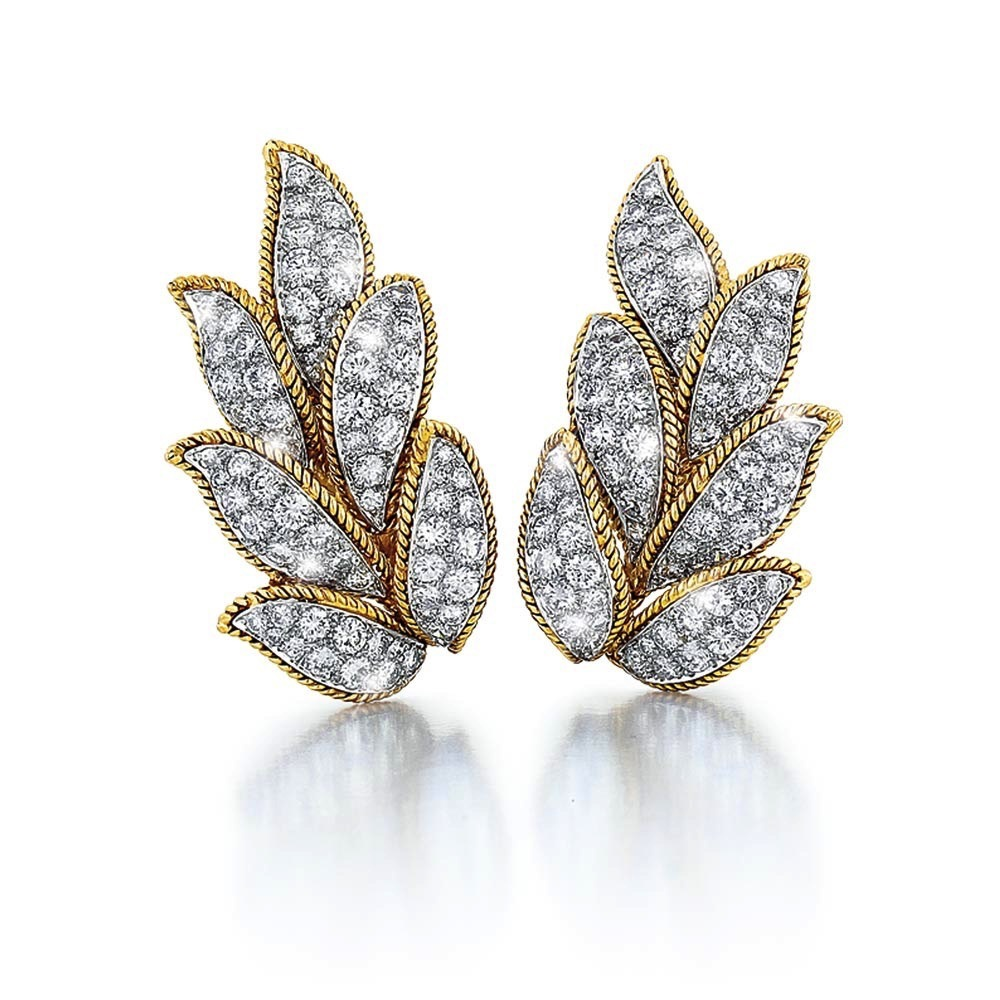 A Pair of American Estate Diamond Earrings
