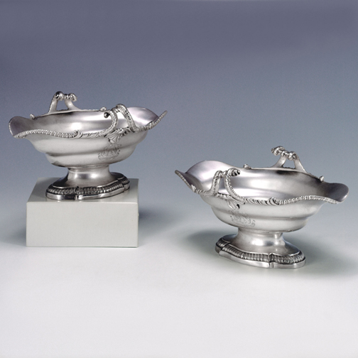A Pair of George III Antique English Silver Sauce Boats