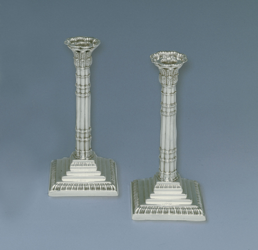 SOLD - A Pair of George III Antique English Silver Tapersticks