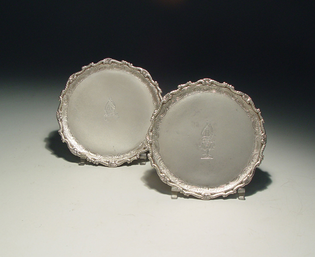 SOLD - A Pair of George III Antique Irish Silver Salvers
