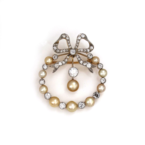 1b1462640d SOLD - An American Natural Pearl and Diamond Circle Bow Brooch